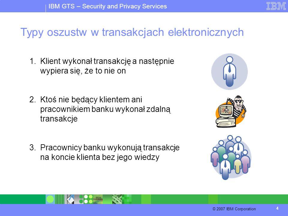 IBM GTS – Security and Privacy Services © 2007 IBM Corporation 4 Typy oszustw w transakcjach elektronicznych 1.Klient wykonał transakcję a następnie w