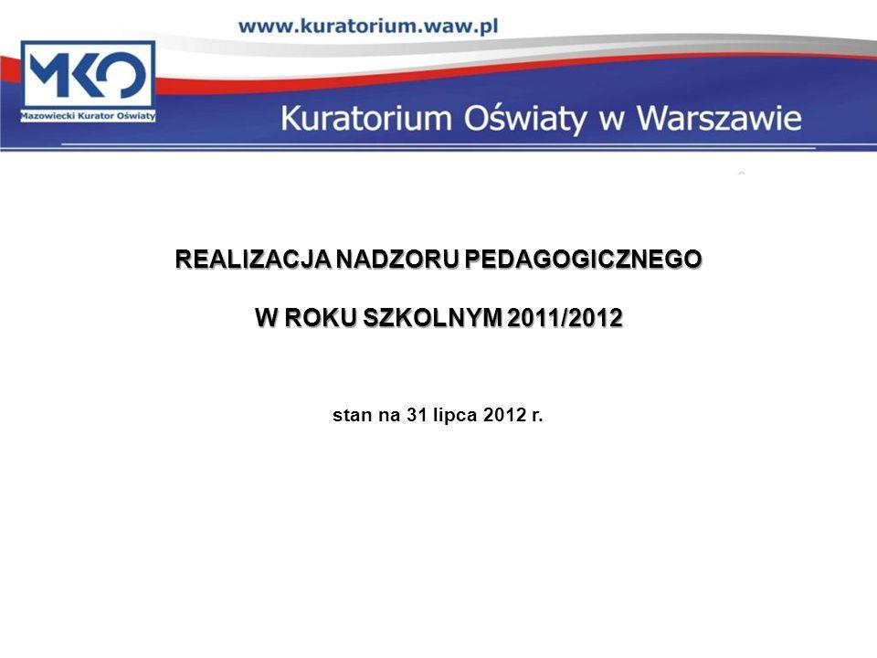 REALIZACJA NADZORU PEDAGOGICZNEGO W ROKU SZKOLNYM 2011/2012 W ROKU SZKOLNYM 2011/2012 stan na 31 lipca 2012 r.