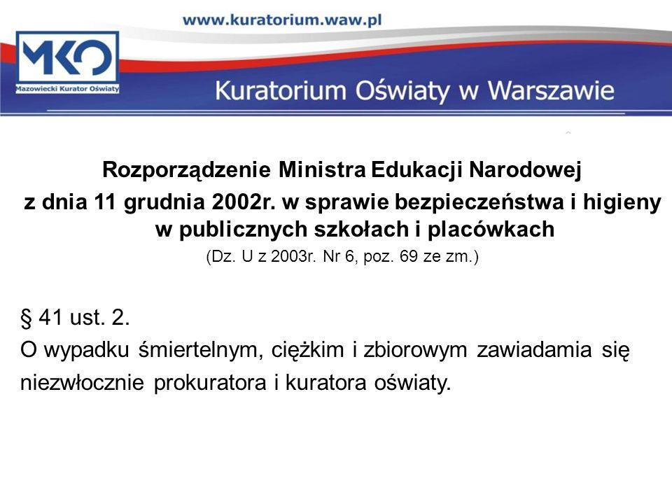 Rozporządzenie Ministra Edukacji Narodowej z dnia 11 grudnia 2002r. w sprawie bezpieczeństwa i higieny w publicznych szkołach i placówkach (Dz. U z 20
