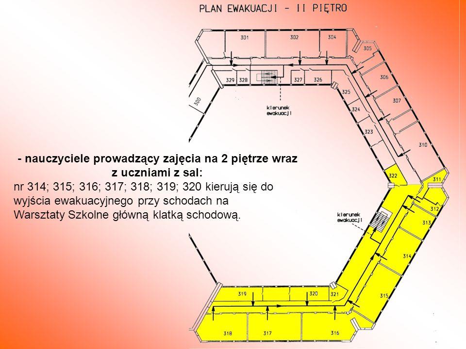 - nauczyciele prowadzący zajęcia na 2 piętrze wraz z uczniami z sal: nr 314; 315; 316; 317; 318; 319; 320 kierują się do wyjścia ewakuacyjnego przy sc