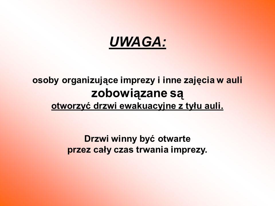 UWAGA: osoby organizujące imprezy i inne zajęcia w auli zobowiązane są otworzyć drzwi ewakuacyjne z tyłu auli. Drzwi winny być otwarte przez cały czas