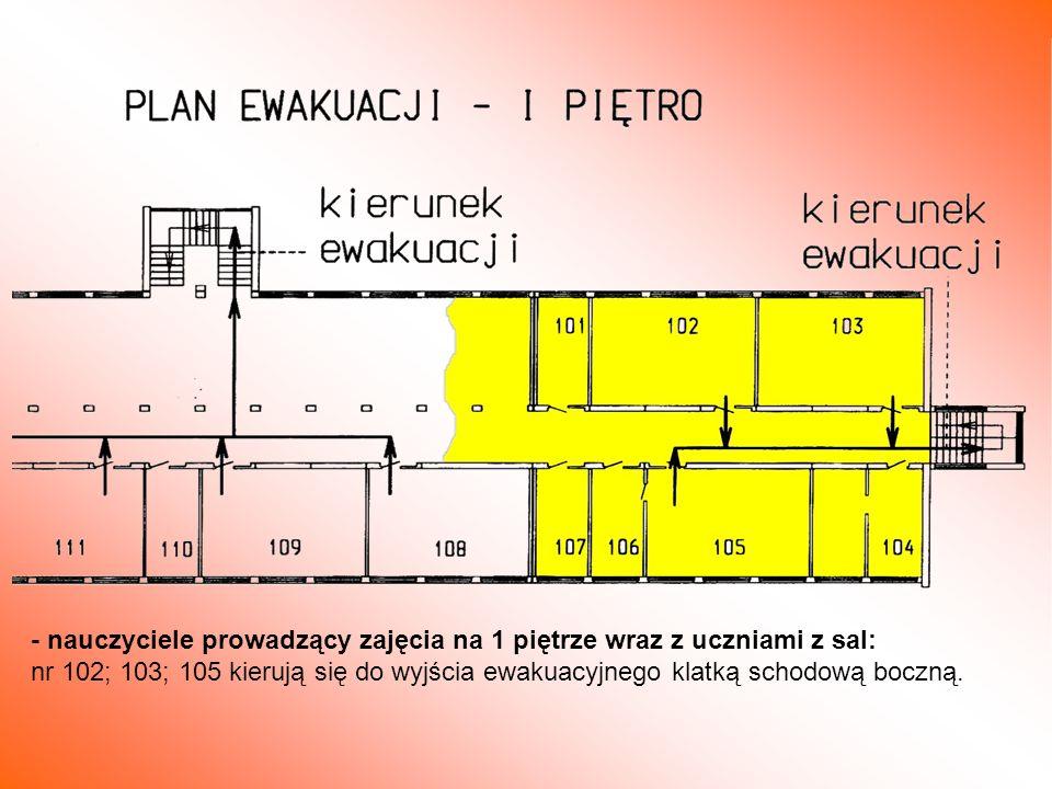 - nauczyciele prowadzący zajęcia na 1 piętrze wraz z uczniami z sal: nr 102; 103; 105 kierują się do wyjścia ewakuacyjnego klatką schodową boczną.