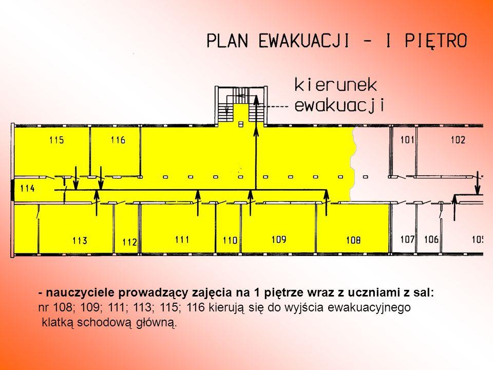 - nauczyciele prowadzący zajęcia na 1 piętrze wraz z uczniami z sal: nr 108; 109; 111; 113; 115; 116 kierują się do wyjścia ewakuacyjnego klatką schod