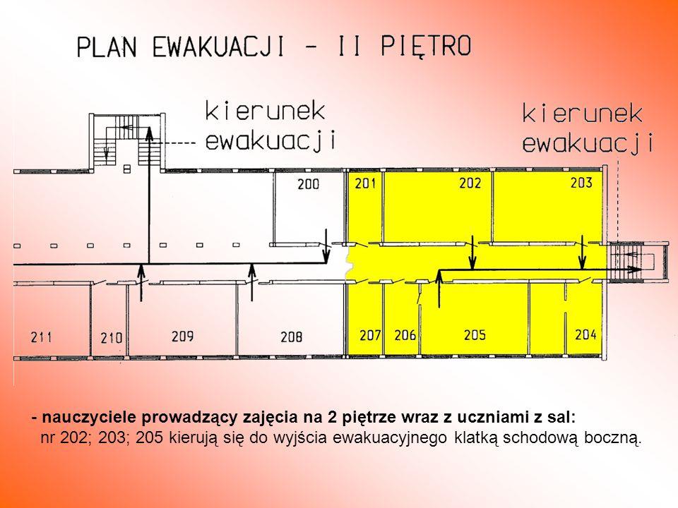 - nauczyciele prowadzący zajęcia na 2 piętrze wraz z uczniami z sal: nr 202; 203; 205 kierują się do wyjścia ewakuacyjnego klatką schodową boczną.