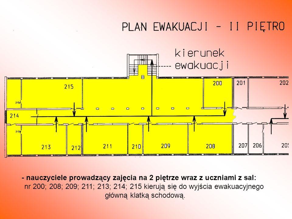 - nauczyciele prowadzący zajęcia na 2 piętrze wraz z uczniami z sal: nr 200; 208; 209; 211; 213; 214; 215 kierują się do wyjścia ewakuacyjnego główną