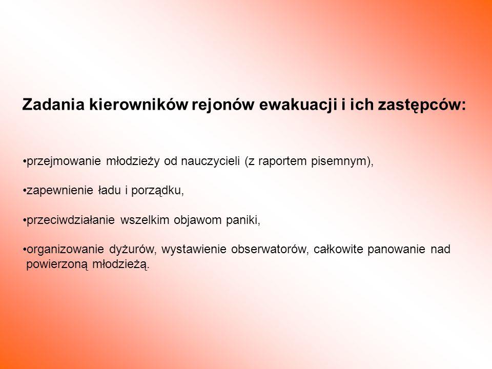 Zadania kierowników rejonów ewakuacji i ich zastępców: przejmowanie młodzieży od nauczycieli (z raportem pisemnym), zapewnienie ładu i porządku, przec