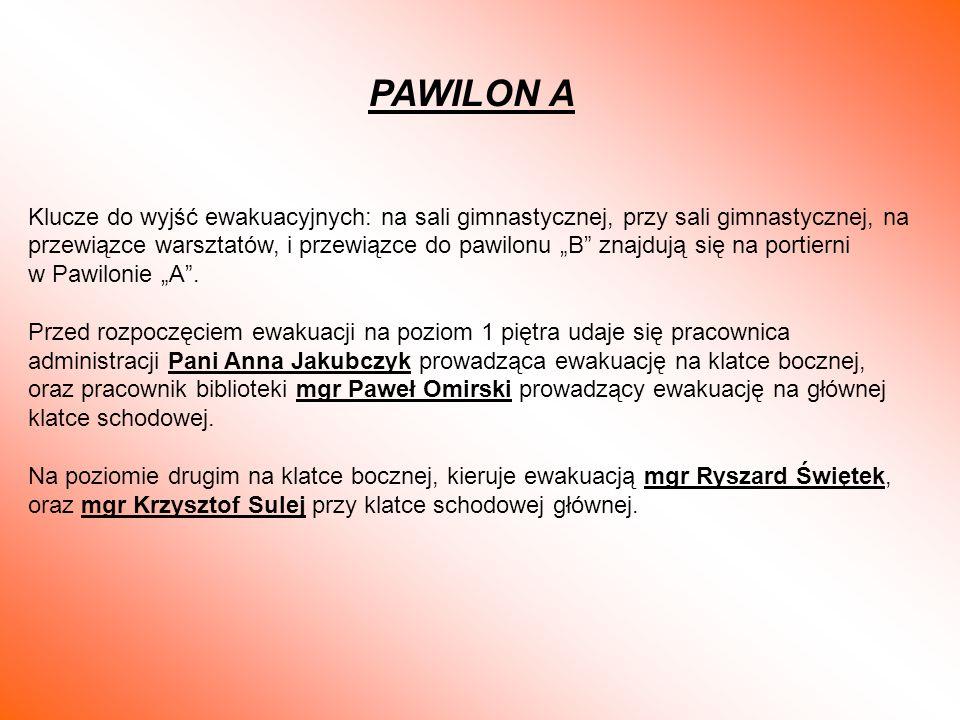 PAWILON A Klucze do wyjść ewakuacyjnych: na sali gimnastycznej, przy sali gimnastycznej, na przewiązce warsztatów, i przewiązce do pawilonu B znajdują