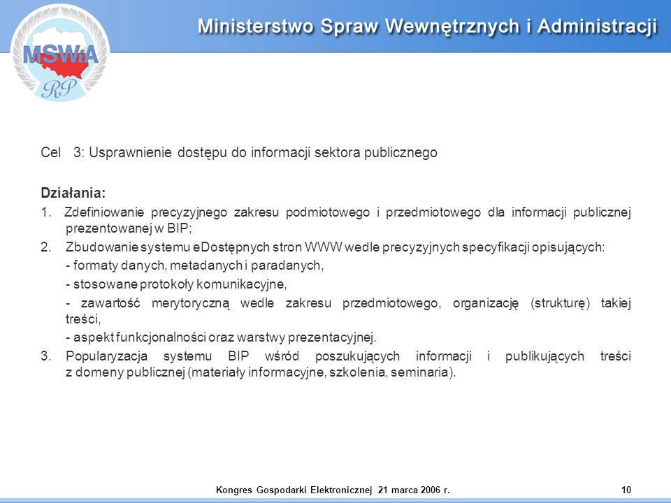 Kongres Gospodarki Elektronicznej 21 marca 2006 r.10 Cel 3: Usprawnienie dostępu do informacji sektora publicznego Działania: 1. Zdefiniowanie precyzy