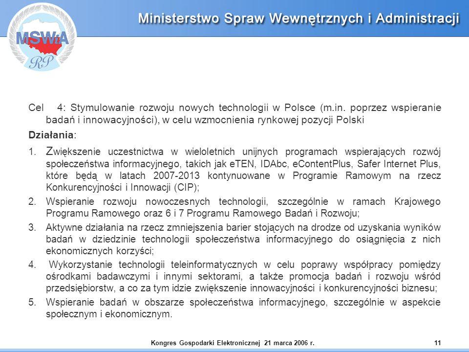 Kongres Gospodarki Elektronicznej 21 marca 2006 r.11 Cel 4: Stymulowanie rozwoju nowych technologii w Polsce (m.in. poprzez wspieranie badań i innowac