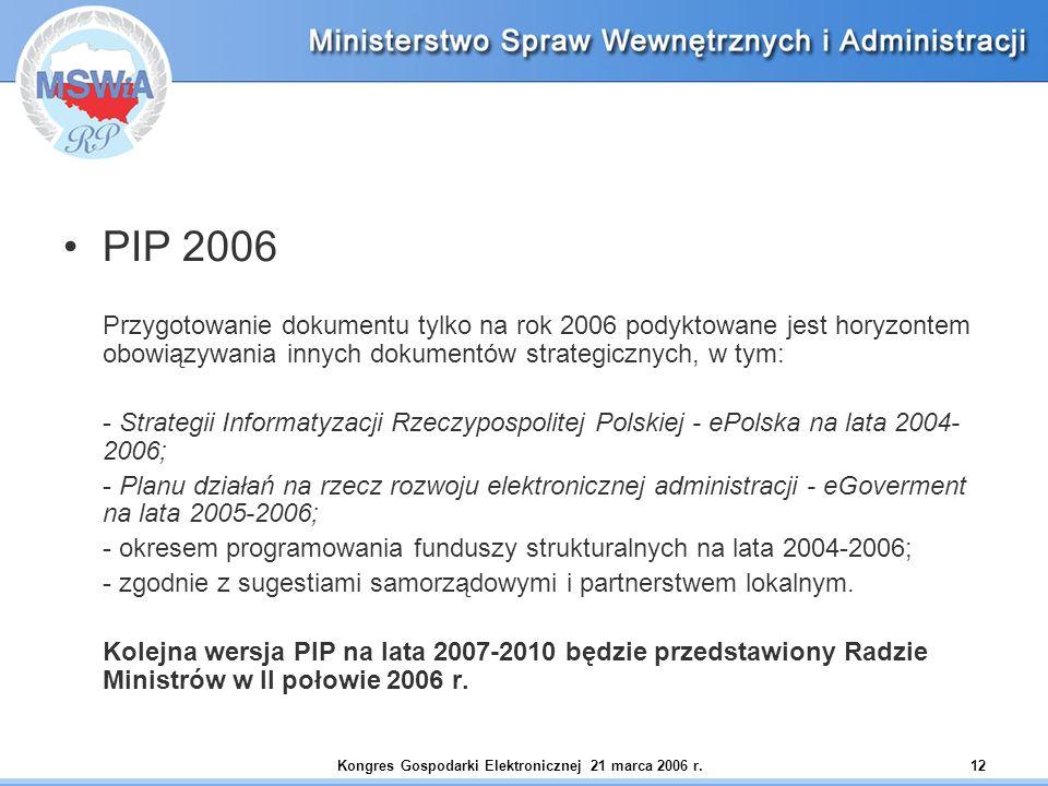 Kongres Gospodarki Elektronicznej 21 marca 2006 r.12 PIP 2006 Przygotowanie dokumentu tylko na rok 2006 podyktowane jest horyzontem obowiązywania innych dokumentów strategicznych, w tym: - Strategii Informatyzacji Rzeczypospolitej Polskiej - ePolska na lata 2004- 2006; - Planu działań na rzecz rozwoju elektronicznej administracji - eGoverment na lata 2005-2006; - okresem programowania funduszy strukturalnych na lata 2004-2006; - zgodnie z sugestiami samorządowymi i partnerstwem lokalnym.