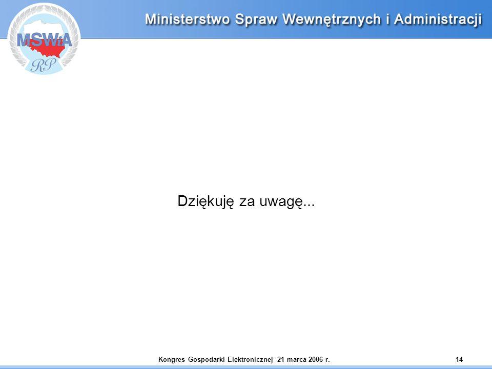 Kongres Gospodarki Elektronicznej 21 marca 2006 r.14 Dziękuję za uwagę...
