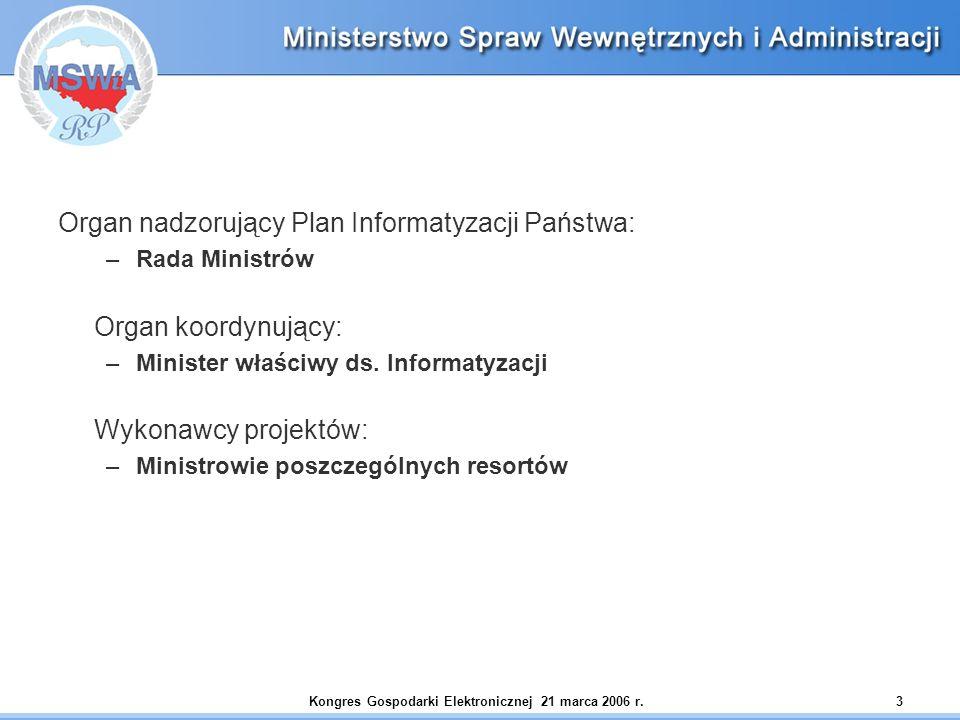 Kongres Gospodarki Elektronicznej 21 marca 2006 r.3 Organ nadzorujący Plan Informatyzacji Państwa: –Rada Ministrów Organ koordynujący: –Minister właśc
