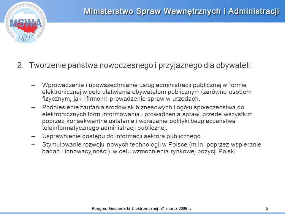 Kongres Gospodarki Elektronicznej 21 marca 2006 r.5 2.Tworzenie państwa nowoczesnego i przyjaznego dla obywateli: –Wprowadzenie i upowszechnienie usłu