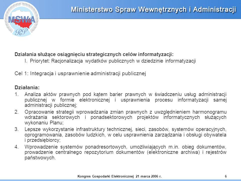 Kongres Gospodarki Elektronicznej 21 marca 2006 r.6 Działania służące osiągnięciu strategicznych celów informatyzacji: I. Priorytet: Racjonalizacja wy