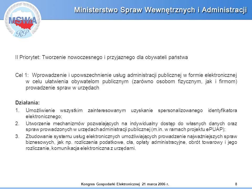Kongres Gospodarki Elektronicznej 21 marca 2006 r.8 II Priorytet: Tworzenie nowoczesnego i przyjaznego dla obywateli państwa Cel 1: Wprowadzenie i upo