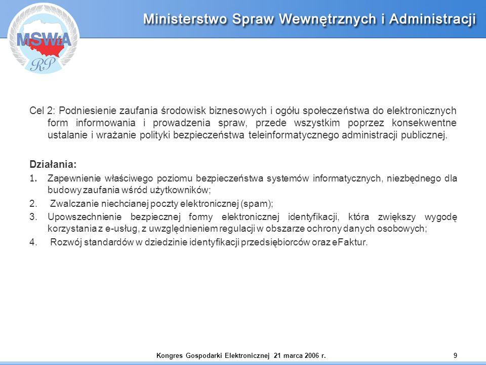 Kongres Gospodarki Elektronicznej 21 marca 2006 r.9 Cel 2: Podniesienie zaufania środowisk biznesowych i ogółu społeczeństwa do elektronicznych form i