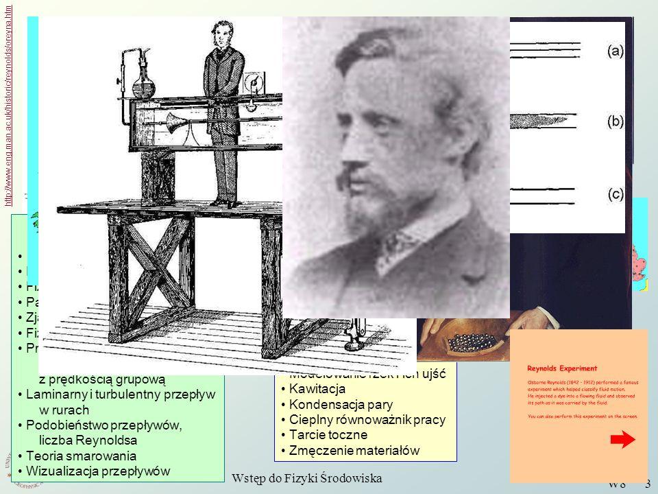 Wstęp do Fizyki Środowiska W8 3 Osborne Reynolds http://www.eng.man.ac.uk/historic/reynolds/oreyna.htm Napęd i dynamika okrętów Pompy i turbiny Modelo