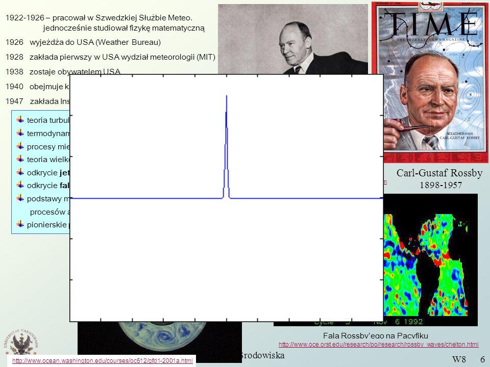 Wstęp do Fizyki Środowiska W8 7 Liczba Rossbyego Liczba Rossbyego pojawia się wtedy, gdy przepływ opisujemy w obracającym się układzie odniesienia Mierzy ona względną wielkość bezwładności i siły Coriolisa.