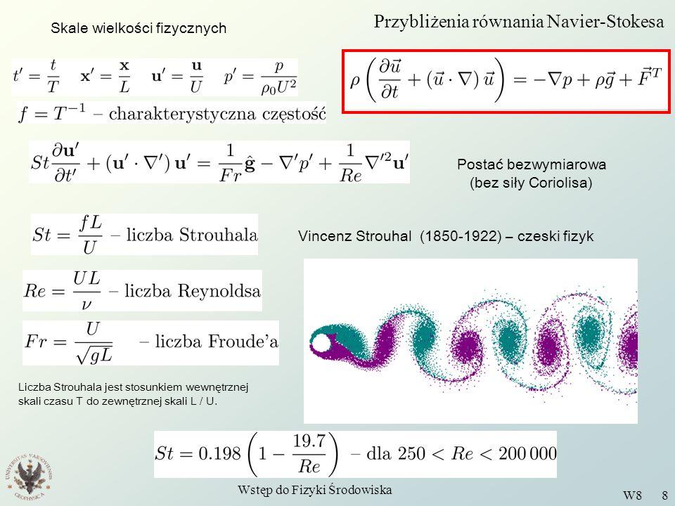 Wstęp do Fizyki Środowiska W8 8 Przybliżenia równania Navier-Stokesa Skale wielkości fizycznych Postać bezwymiarowa (bez siły Coriolisa) Vincenz Strou