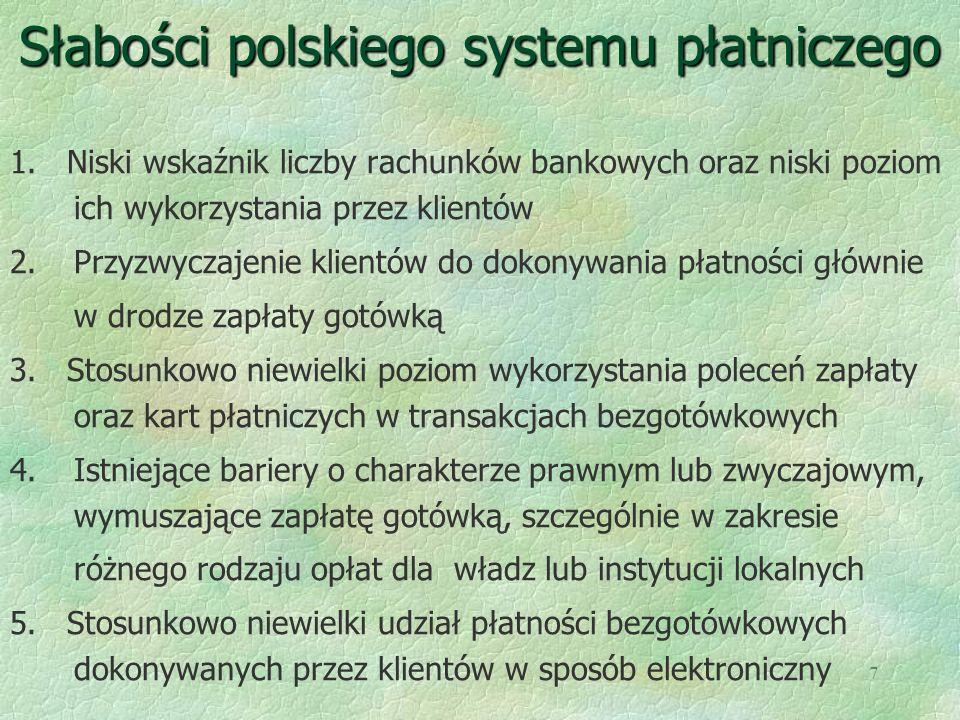 7 Słabości polskiego systemu płatniczego 1. Niski wskaźnik liczby rachunków bankowych oraz niski poziom ich wykorzystania przez klientów 2.Przyzwyczaj