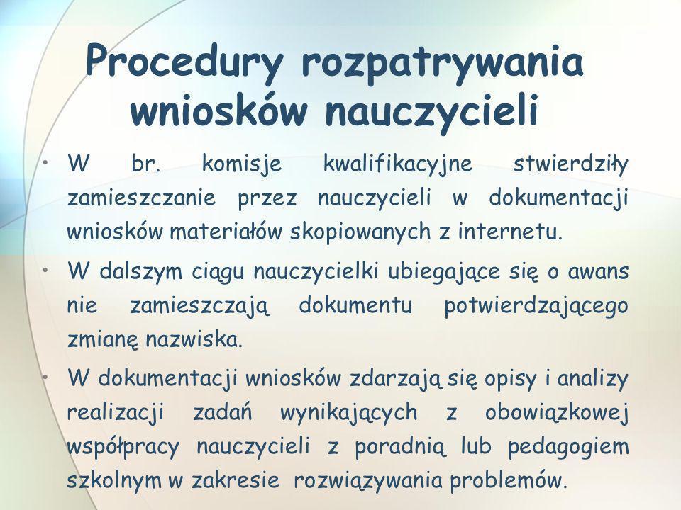 Procedury rozpatrywania wniosków nauczycieli W br. komisje kwalifikacyjne stwierdziły zamieszczanie przez nauczycieli w dokumentacji wniosków materiał