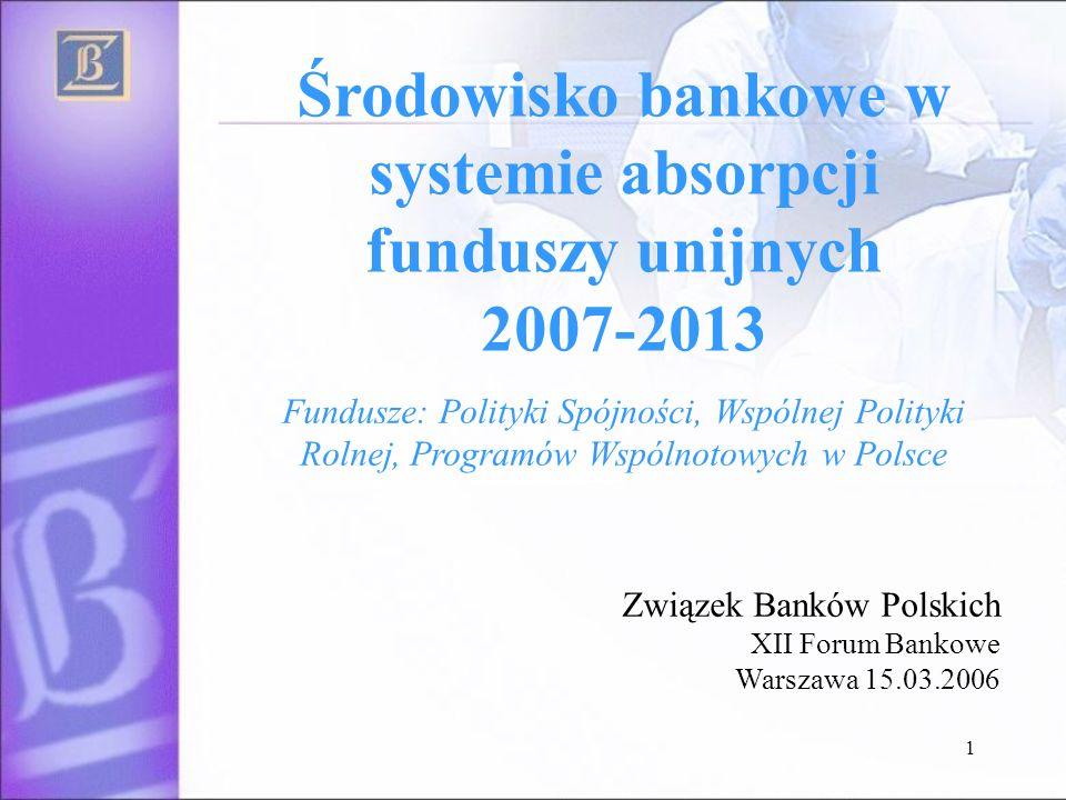 1 Środowisko bankowe w systemie absorpcji funduszy unijnych 2007-2013 Związek Banków Polskich XII Forum Bankowe Warszawa 15.03.2006 Fundusze: Polityki