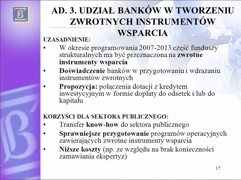 17 AD. 3. UDZIAŁ BANKÓW W TWORZENIU ZWROTNYCH INSTRUMENTÓW WSPARCIA UZASADNIENIE: W okresie programowania 2007-2013 część funduszy strukturalnych ma b