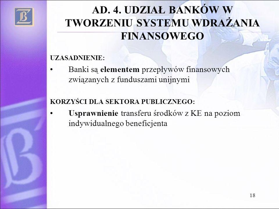 18 AD. 4. UDZIAŁ BANKÓW W TWORZENIU SYSTEMU WDRAŻANIA FINANSOWEGO UZASADNIENIE: Banki są elementem przepływów finansowych związanych z funduszami unij