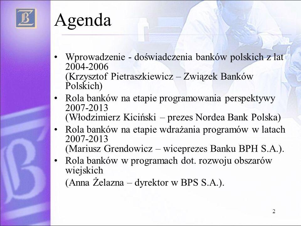 2 Agenda Wprowadzenie - doświadczenia banków polskich z lat 2004-2006 (Krzysztof Pietraszkiewicz – Związek Banków Polskich) Rola banków na etapie prog