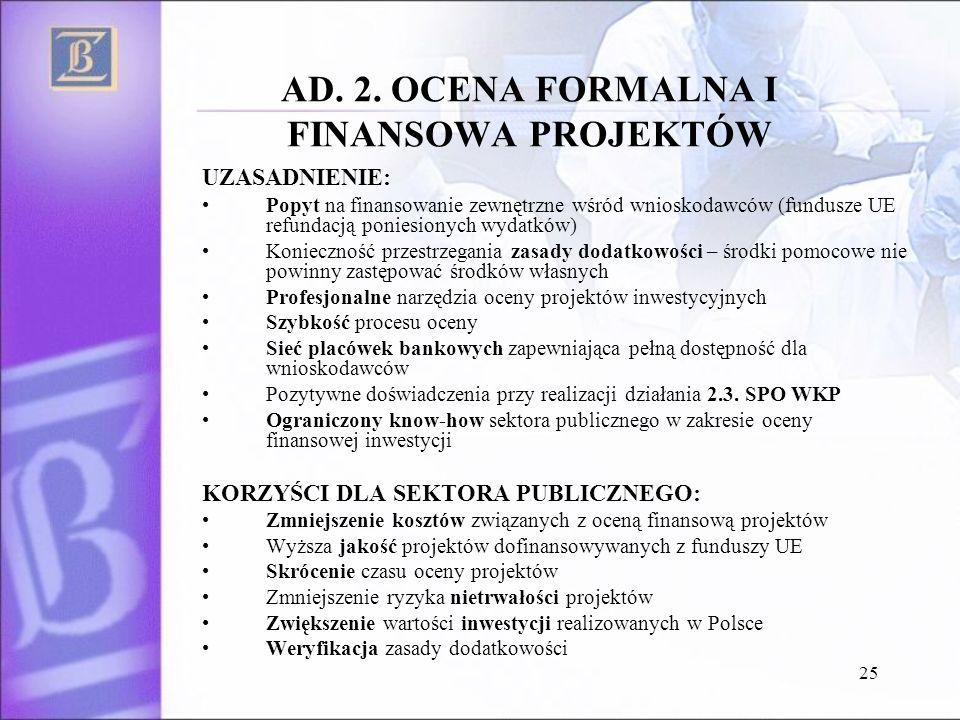 25 AD. 2. OCENA FORMALNA I FINANSOWA PROJEKTÓW UZASADNIENIE: Popyt na finansowanie zewnętrzne wśród wnioskodawców (fundusze UE refundacją poniesionych