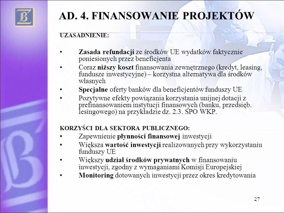 27 AD. 4. FINANSOWANIE PROJEKTÓW UZASADNIENIE: Zasada refundacji ze środków UE wydatków faktycznie poniesionych przez beneficjenta Coraz niższy koszt