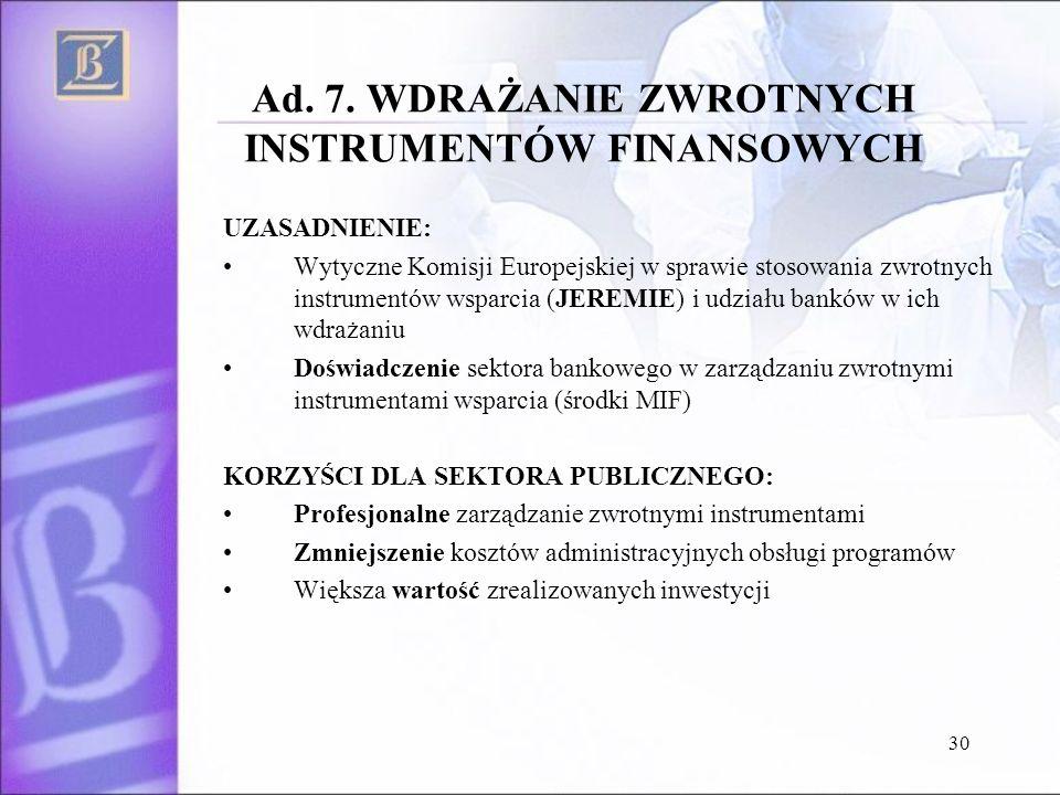 30 Ad. 7. WDRAŻANIE ZWROTNYCH INSTRUMENTÓW FINANSOWYCH UZASADNIENIE: Wytyczne Komisji Europejskiej w sprawie stosowania zwrotnych instrumentów wsparci
