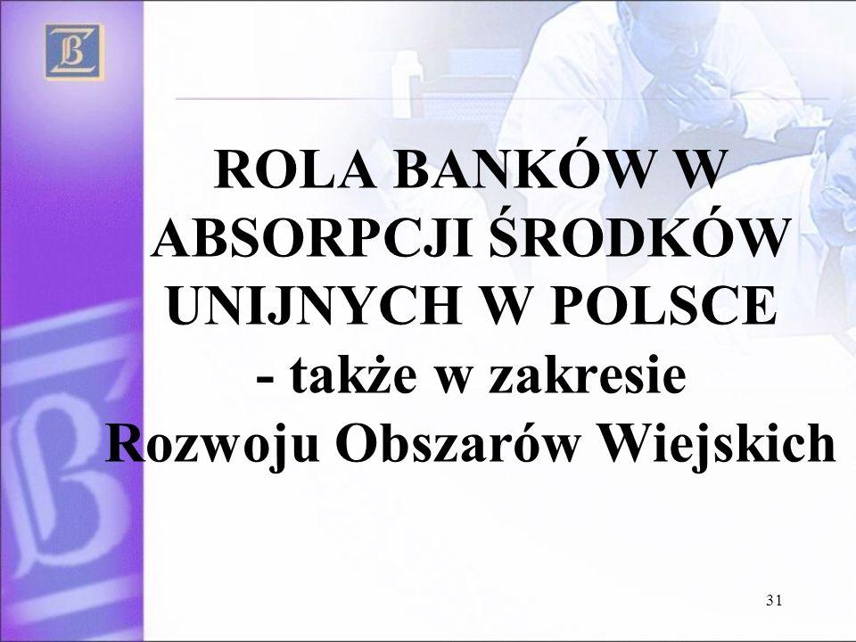 31 ROLA BANKÓW W ABSORPCJI ŚRODKÓW UNIJNYCH W POLSCE - także w zakresie Rozwoju Obszarów Wiejskich