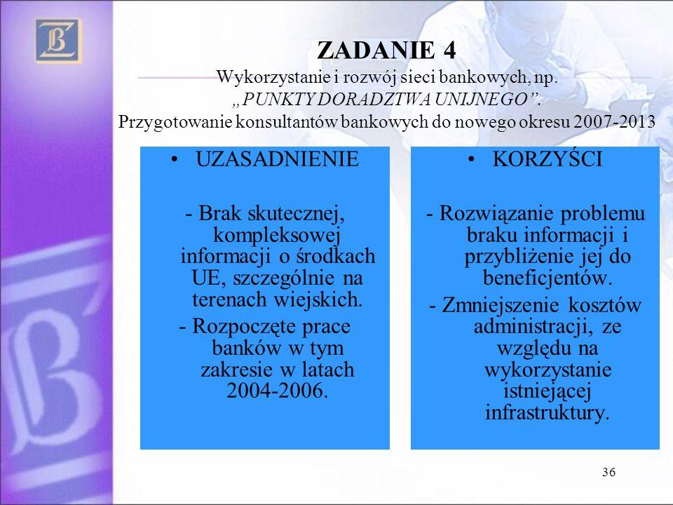 36 ZADANIE 4 Wykorzystanie i rozwój sieci bankowych, np. PUNKTY DORADZTWA UNIJNEGO. Przygotowanie konsultantów bankowych do nowego okresu 2007-2013 UZ