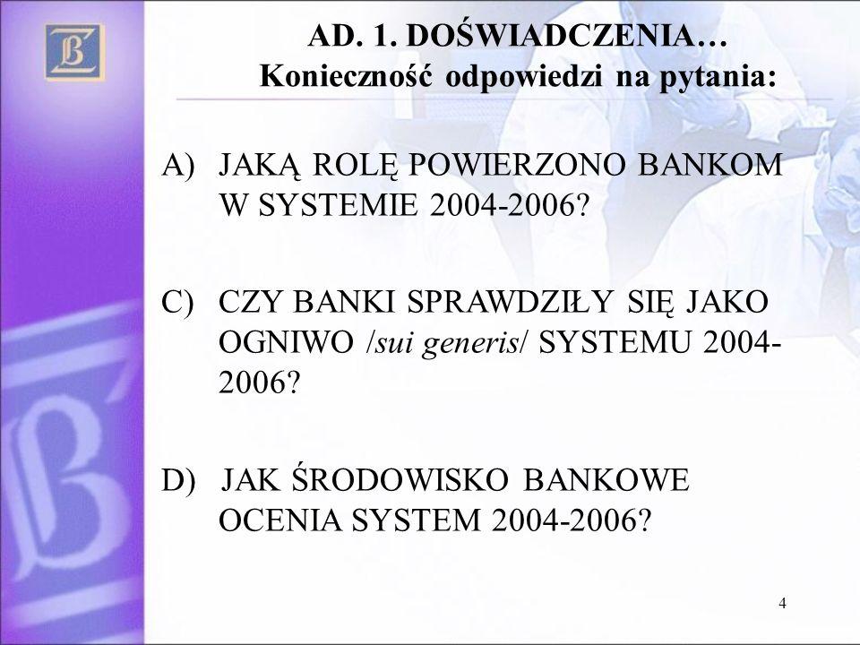 4 AD. 1. DOŚWIADCZENIA… Konieczność odpowiedzi na pytania: A)JAKĄ ROLĘ POWIERZONO BANKOM W SYSTEMIE 2004-2006? C)CZY BANKI SPRAWDZIŁY SIĘ JAKO OGNIWO