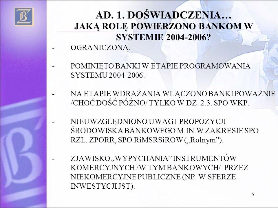 5 JAKĄ ROLĘ POWIERZONO BANKOM W SYSTEMIE 2004-2006? -OGRANICZONĄ. -POMINIĘTO BANKI W ETAPIE PROGRAMOWANIA SYSTEMU 2004-2006. -NA ETAPIE WDRAŻANIA WŁĄC