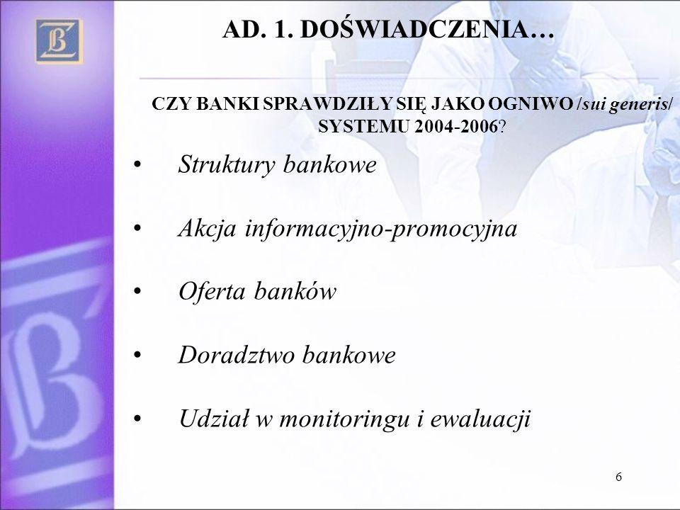 6 Struktury bankowe Akcja informacyjno-promocyjna Oferta banków Doradztwo bankowe Udział w monitoringu i ewaluacji AD.