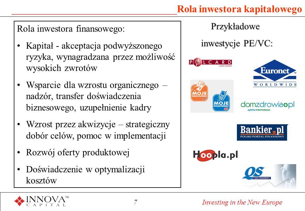 7 Investing in the New Europe ______________________________ Rola inwestora kapitałowego Rola inwestora finansowego: Kapitał - akceptacja podwyższonego ryzyka, wynagradzana przez możliwość wysokich zwrotów Wsparcie dla wzrostu organicznego – nadzór, transfer doświadczenia biznesowego, uzupełnienie kadry Wzrost przez akwizycje – strategiczny dobór celów, pomoc w implementacji Rozwój oferty produktowej Doświadczenie w optymalizacji kosztów Przykładowe inwestycje PE/VC: