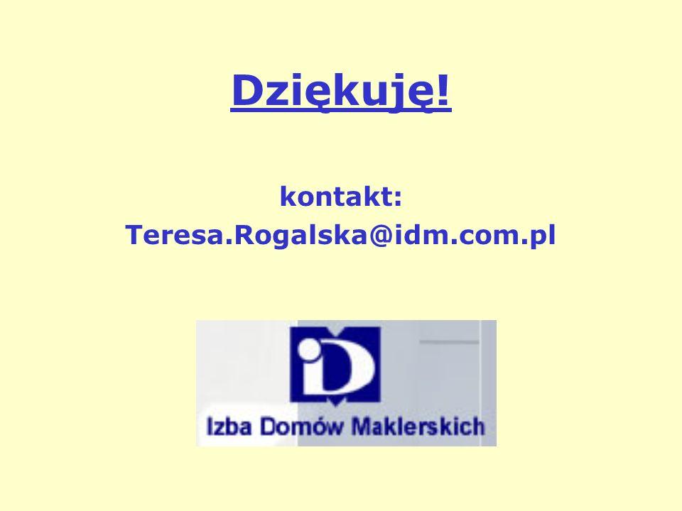 Dziękuję! kontakt: Teresa.Rogalska@idm.com.pl