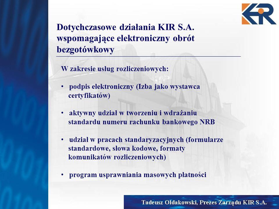 Dotychczasowe działania KIR S.A. wspomagające elektroniczny obrót bezgotówkowy W zakresie usług rozliczeniowych: podpis elektroniczny (Izba jako wysta