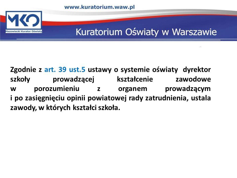 Zgodnie z art. 39 ust.5 ustawy o systemie oświaty dyrektor szkoły prowadzącej kształcenie zawodowe w porozumieniu z organem prowadzącym i po zasięgnię