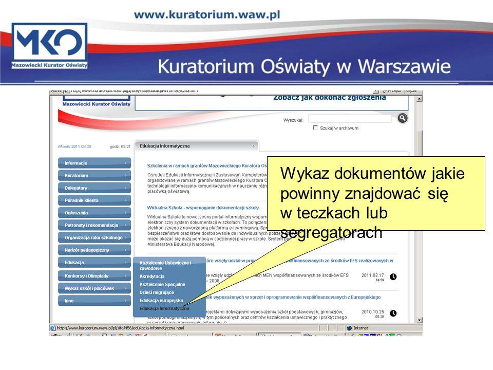 Wykaz dokumentów jakie powinny znajdować się w teczkach lub segregatorach