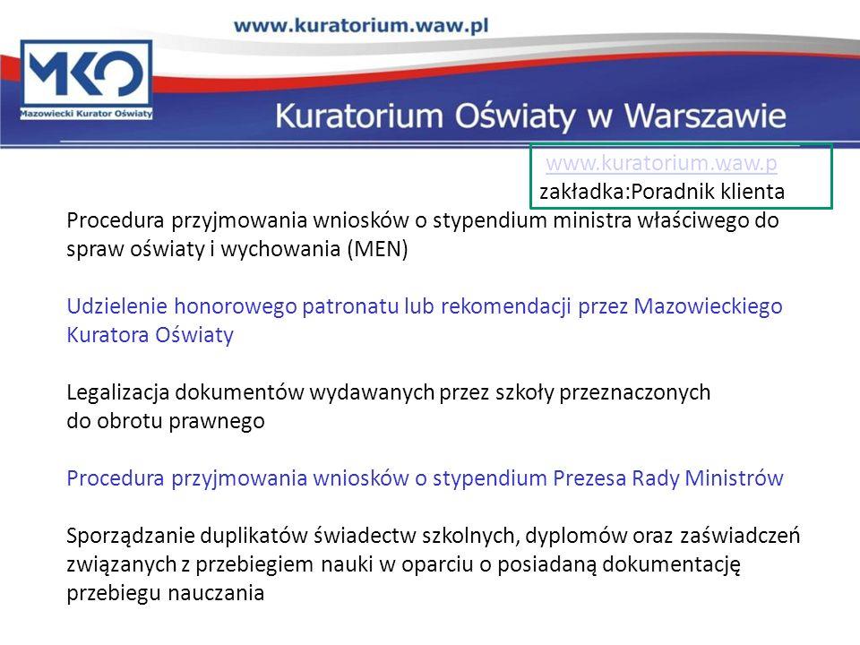 Innowacje i eksperymenty w szkołach www.kuratorium.waw.pl zakładka: Nadzór pedagogiczny