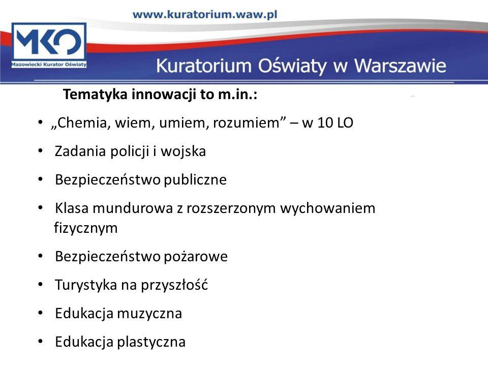 Tematyka innowacji to m.in.: Chemia, wiem, umiem, rozumiem – w 10 LO Zadania policji i wojska Bezpieczeństwo publiczne Klasa mundurowa z rozszerzonym