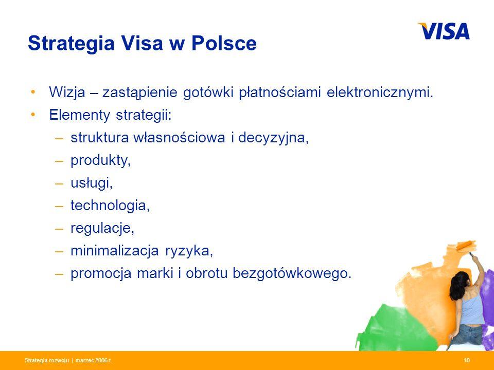 Presentation Identifier.10 Information Classification as Needed 10Strategia rozwoju | marzec 2006 r. Strategia Visa w Polsce Wizja – zastąpienie gotów