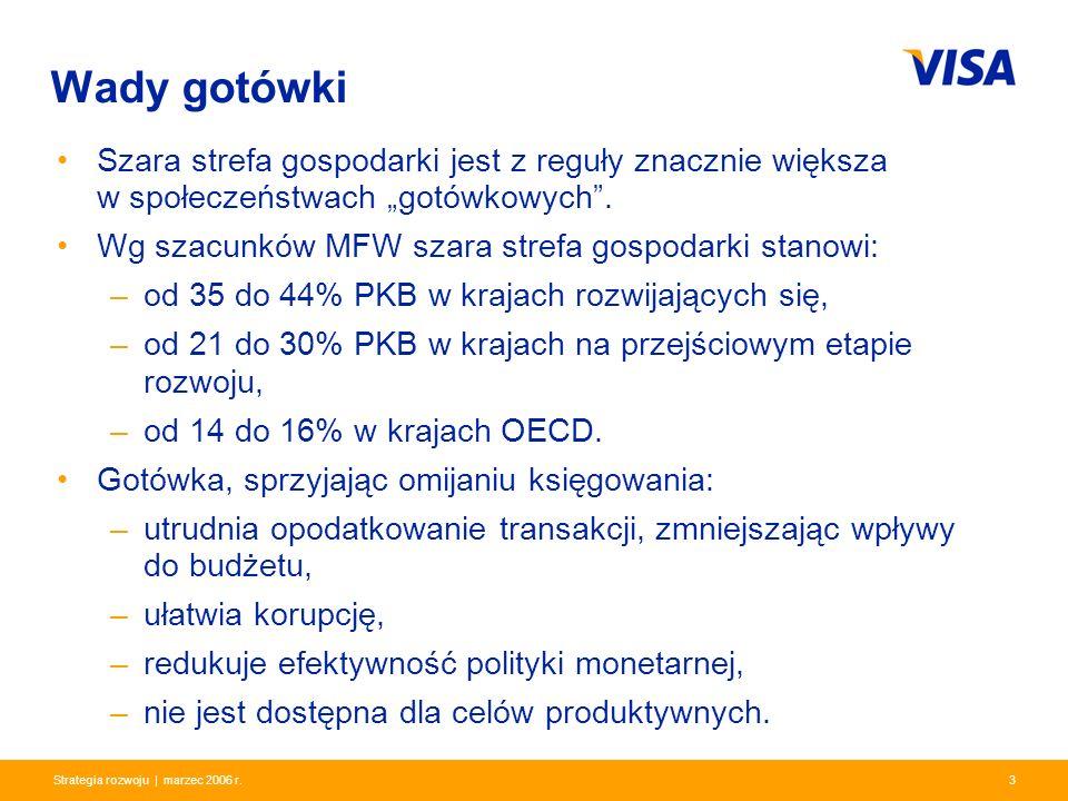 Presentation Identifier.3 Information Classification as Needed 3Strategia rozwoju | marzec 2006 r. Wady gotówki Szara strefa gospodarki jest z reguły