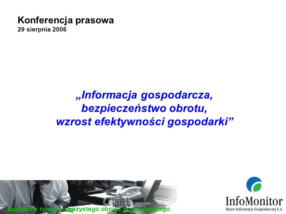 Budujemy rynek przejrzystego obrotu gospodarczego Konferencja prasowa 29 sierpnia 2006 Informacja gospodarcza, bezpieczeństwo obrotu, wzrost efektywności gospodarki