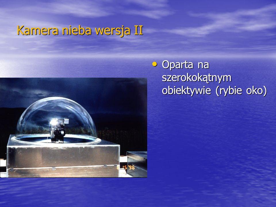 Kamera nieba wersja II Oparta na szerokokątnym obiektywie (rybie oko) Oparta na szerokokątnym obiektywie (rybie oko)