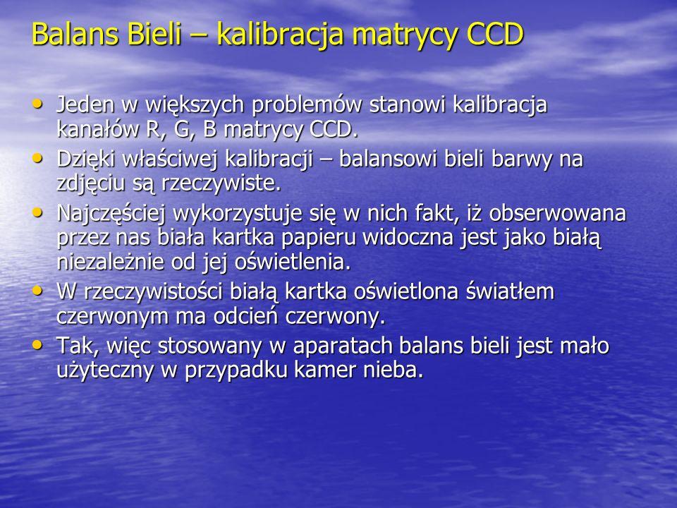 Balans Bieli – kalibracja matrycy CCD Jeden w większych problemów stanowi kalibracja kanałów R, G, B matrycy CCD.