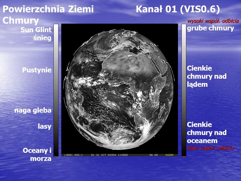 Powierzchnia Ziemi Kanał 01 (VIS0.6) Chmury wysoki współ. odbicia grube chmury Cienkie chmury nad lądem Cienkie chmury nad oceanem Niski współ. odbici